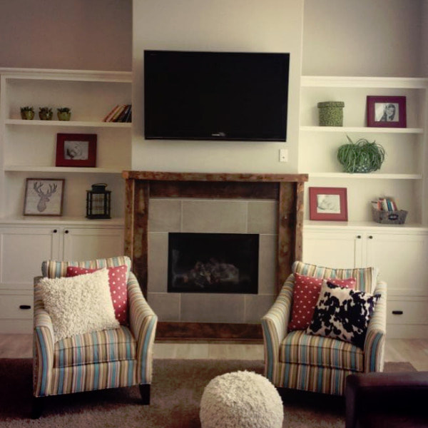 custom bookshelves and fireplace