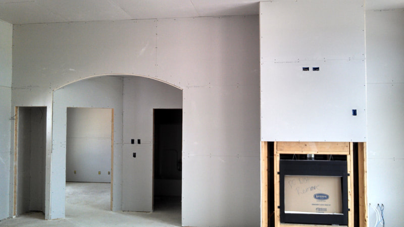 Fireplace with drywall