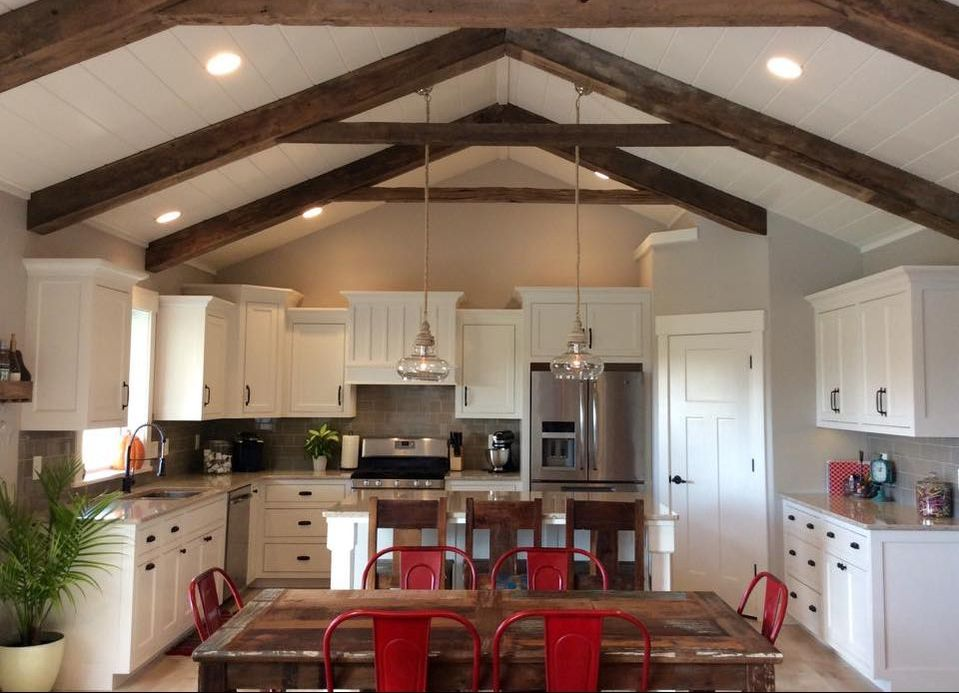 kitchen remodel exposed beams